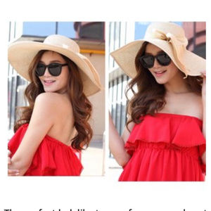 Accessories - Big Bowknot Straw Hat Foldable